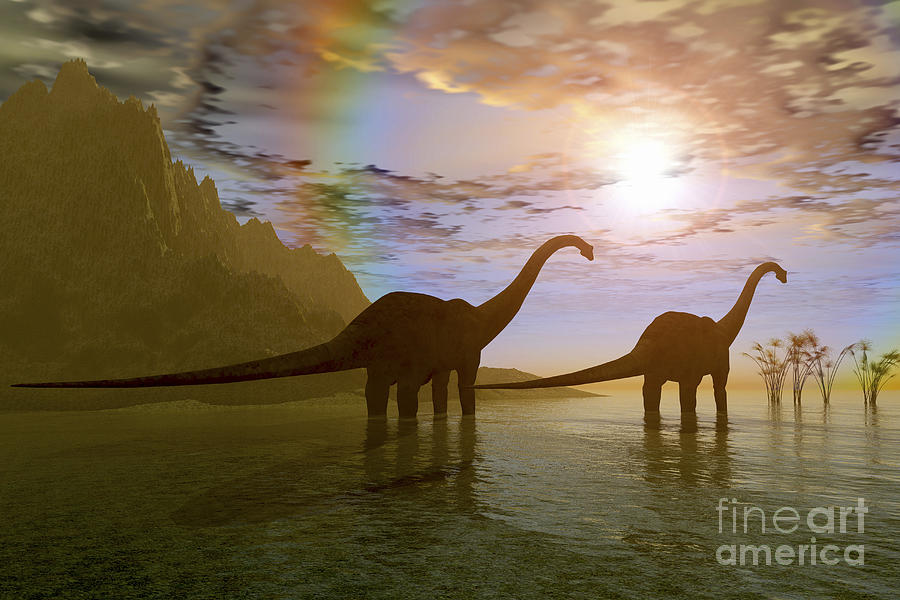 Diplodocus Digital Art - Two Diplodocus Dinosaurs Wade by Corey Ford