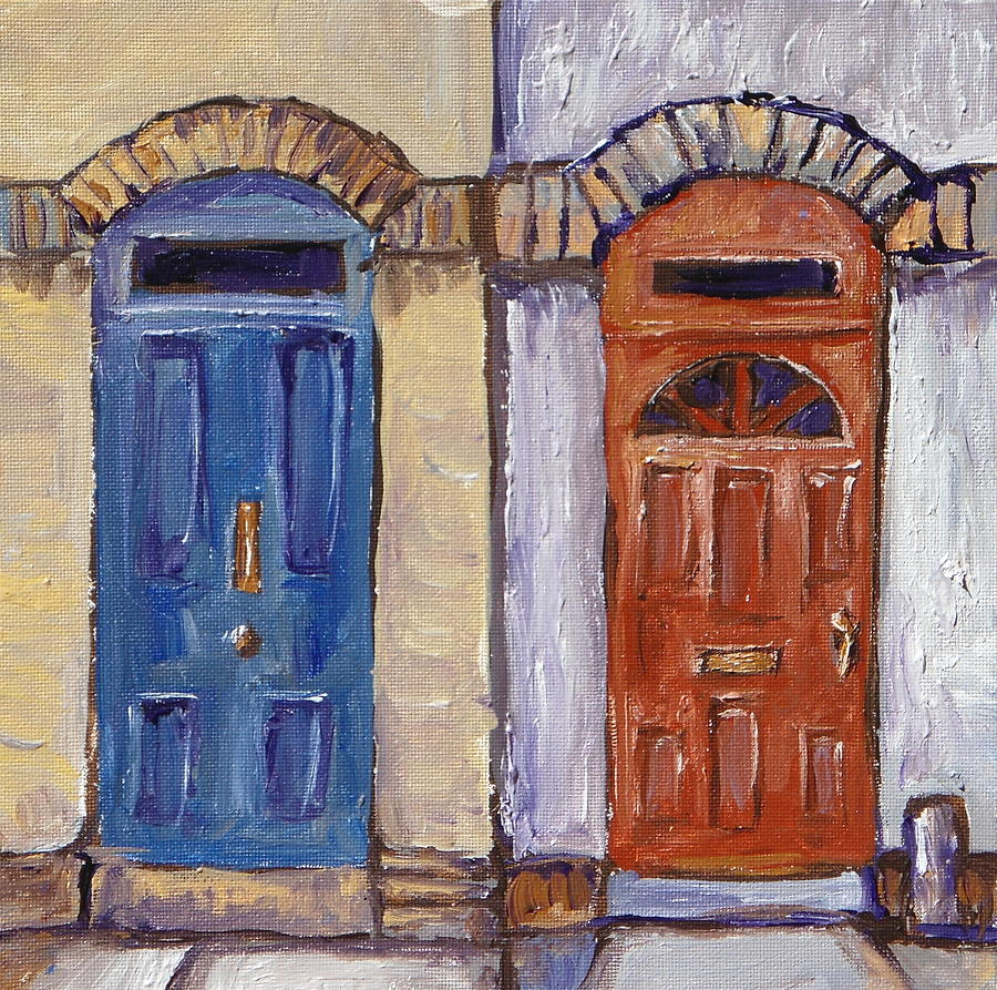 Doors Painting - Two Doors by Sandy Tracey & Two Doors Painting by Sandy Tracey