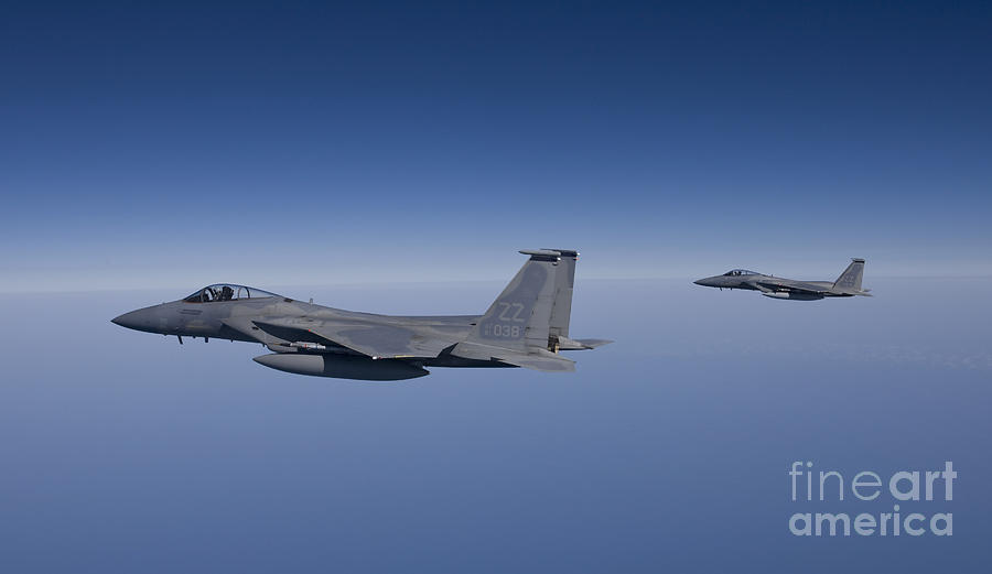 Two F-15 Eagles Fly Over The Gulf Photograph