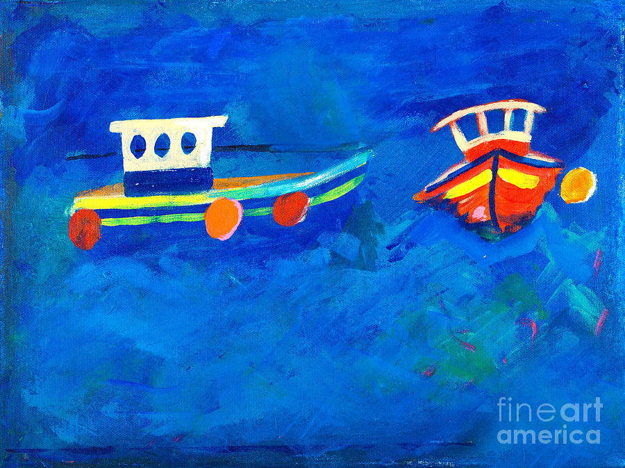 Painting Painting - Two Fishing Boats At Sea by Simon Bratt Photography LRPS