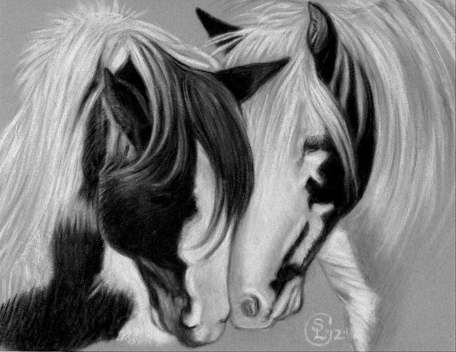 Horse Pastel - Two Gypsies by Stephanie L Carr
