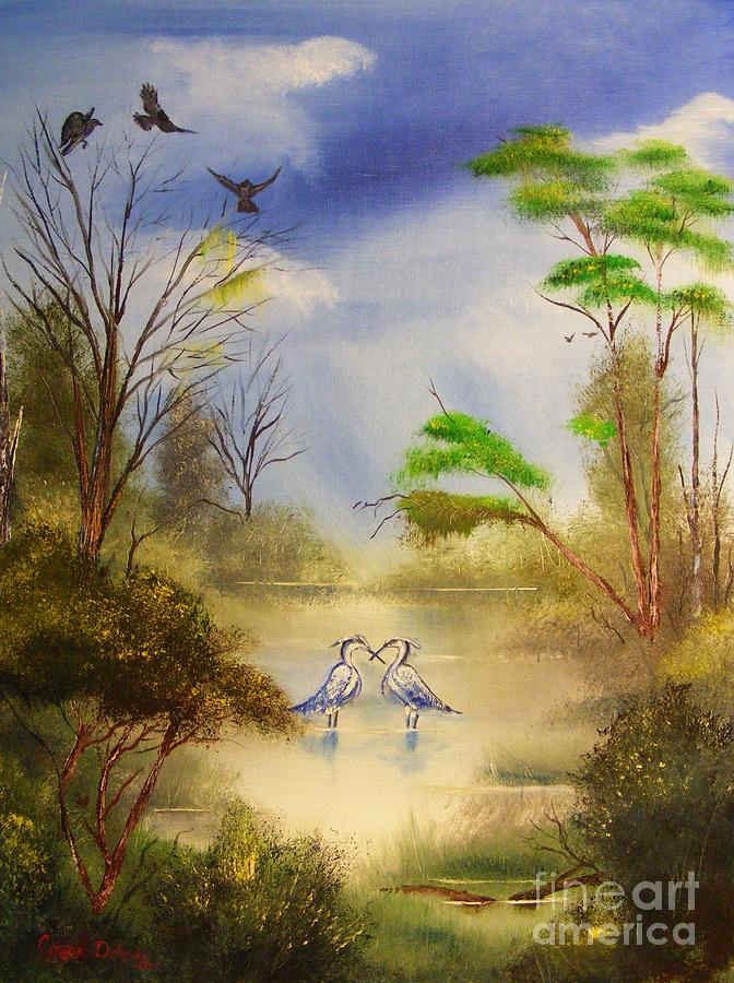 Oil Painting - Two Herons by Crispin  Delgado