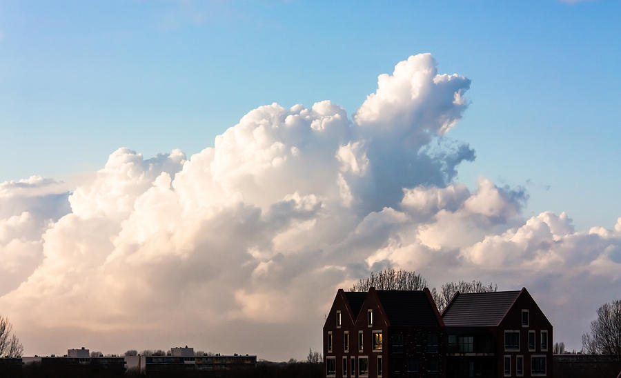 Blue Photograph - Two Houses One Cloud by Semmick Photo