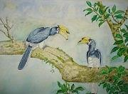 Landscape Painting - two Indian Horn Bill by Saurav Das