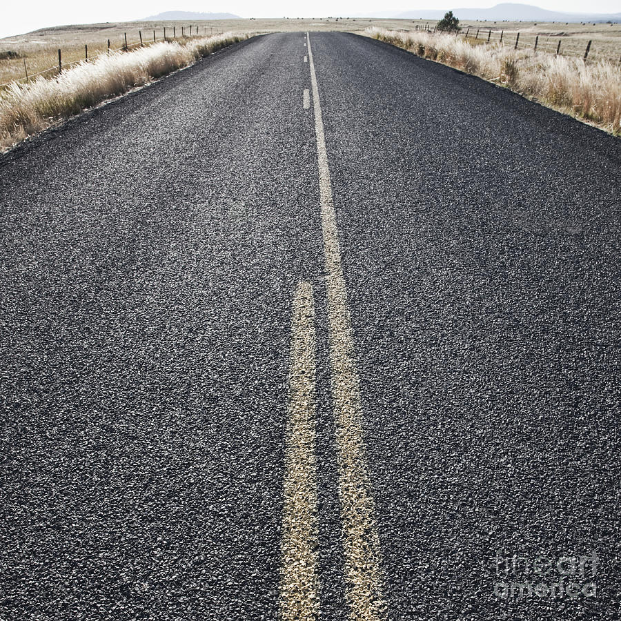 Asphalt Photograph - Two Lane Road Between Fenced Fields by Jetta Productions, Inc