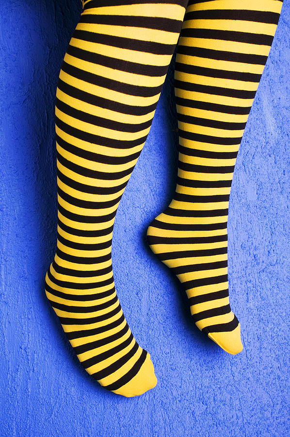 Leg Photograph - Two Legs Against Blue Wall by Garry Gay