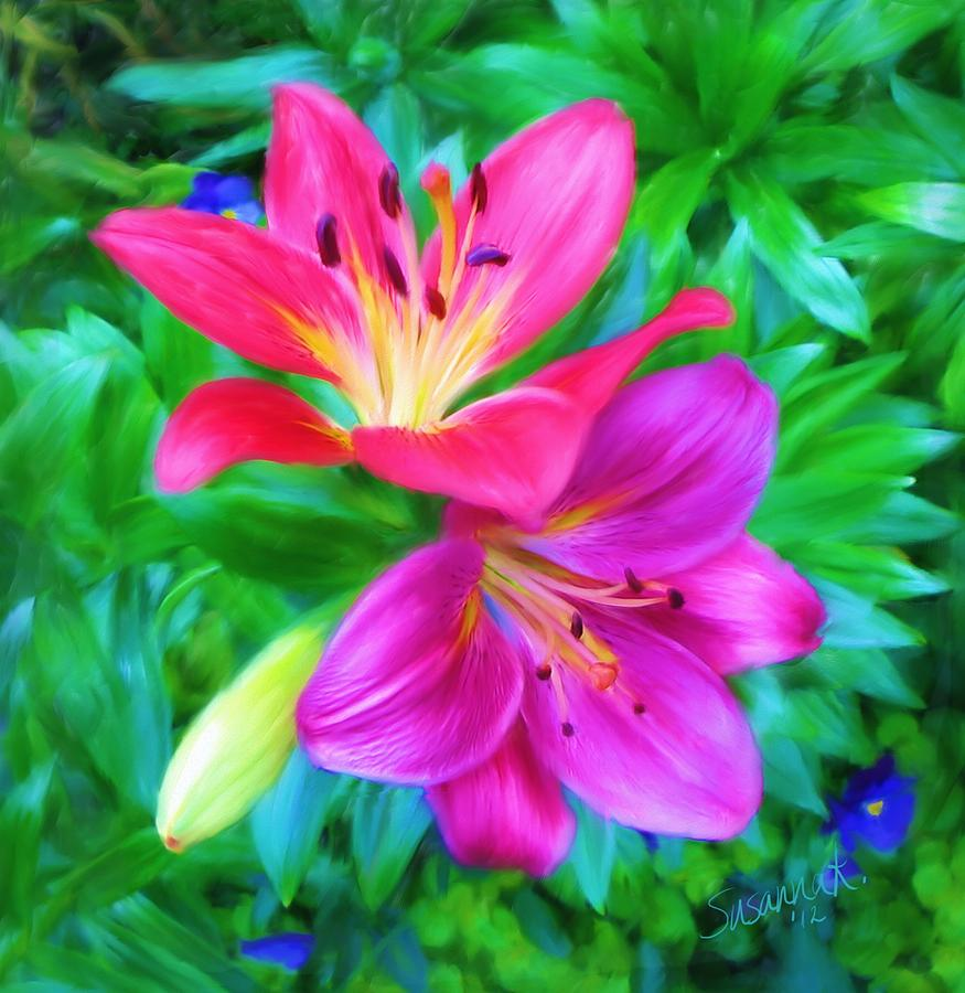 Two Lily Flowers Painting By Susanna Katherine