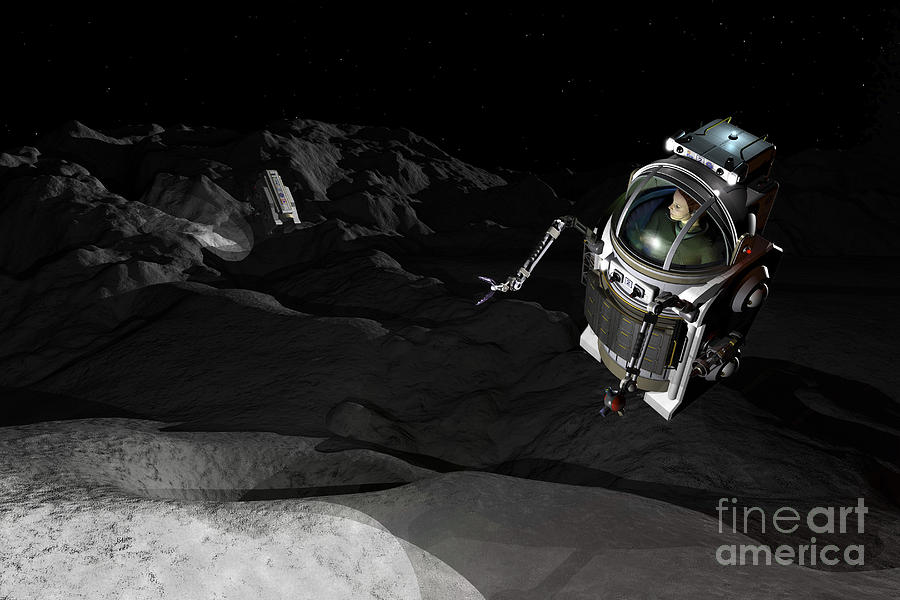 Space Exploration Digital Art - Two Manned Maneuvering Vehicles Explore by Walter Myers