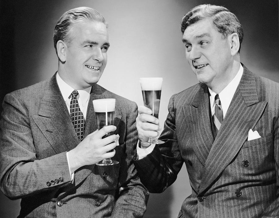 Adult Photograph - Two Men With Alcoholic Beverages by George Marks