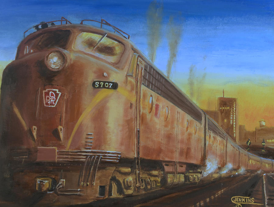 Train Painting - Two Minutes Late by Christopher Jenkins