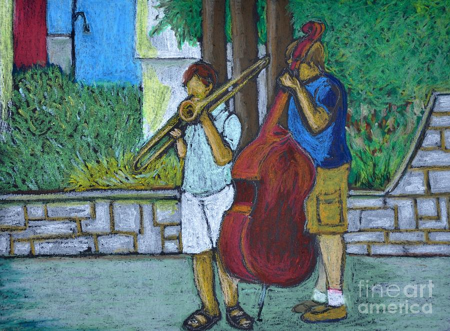 Montreal Streets Pastel - Two Musicians by Reb Frost