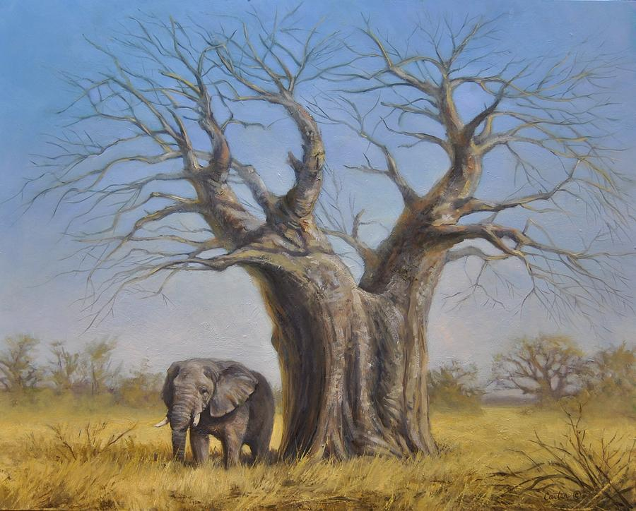 Elephant Painting - Two Old Giants by Calvin Carter