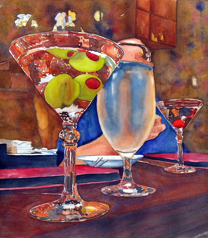 Two Olives Walk Into A Bar... Painting by Gerald Carpenter