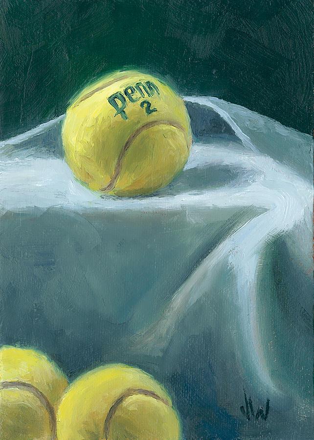 Tennis Balls Painting - Two On Top by Joe Winkler