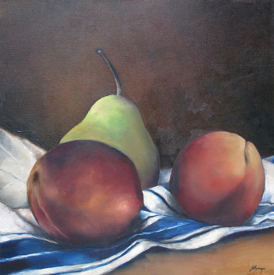 Fruit Painting - Two Peaches And A Pear by Julie Dalton Gourgues