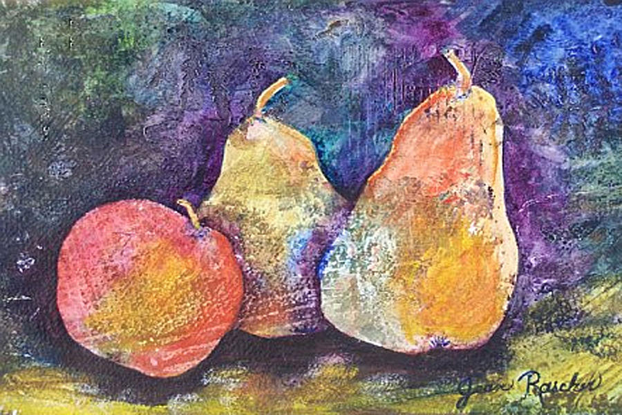 Pear Painting - Two Pears And An Apple by Jean Rascher
