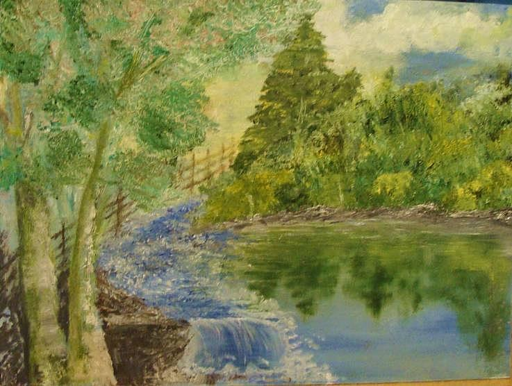 Landscape Water Lake Pond River Stream Painting - Two Principles by Jeanne Mytareva