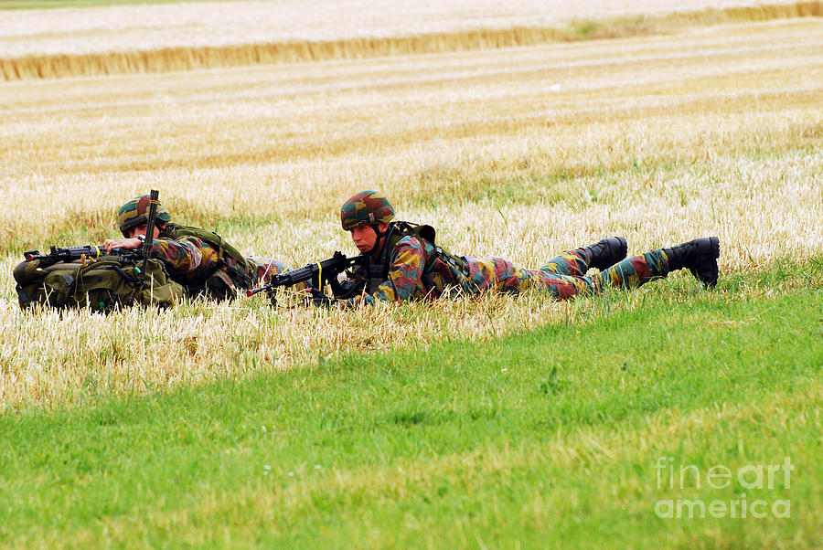 Ambush Photograph - Two Soldiers Of The Belgian Army by Luc De Jaeger