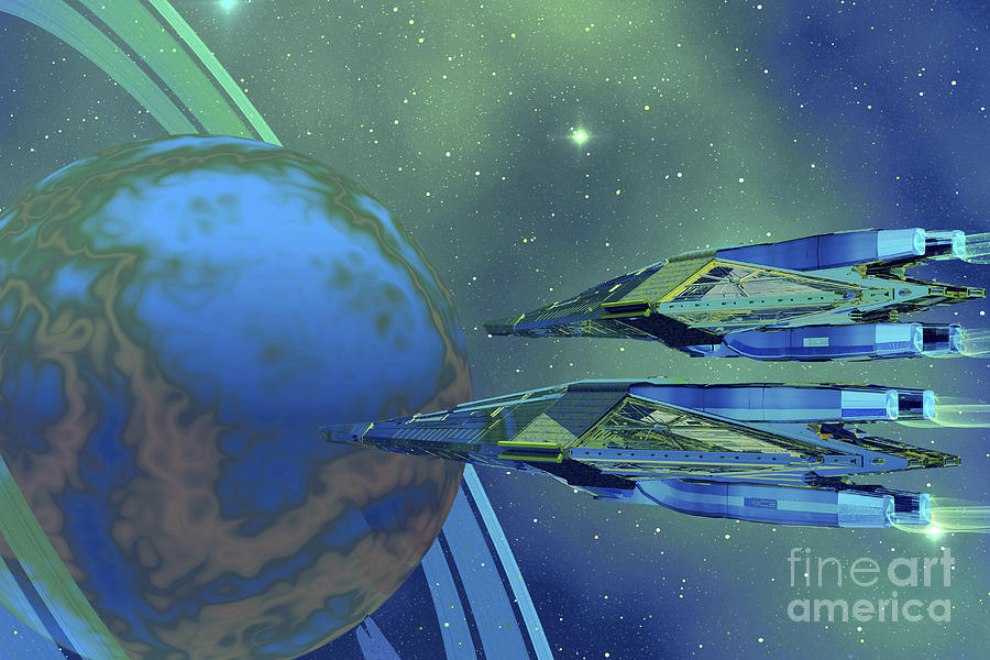 Stars Digital Art - Two Spacecraft Fly To Their Home Planet by Corey Ford
