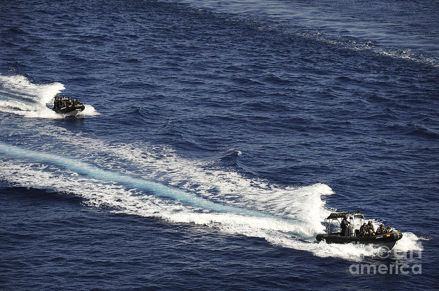 Spanish Navy Photograph - Two Spanish Navy Ridged-hull Inflatable by Stocktrek Images