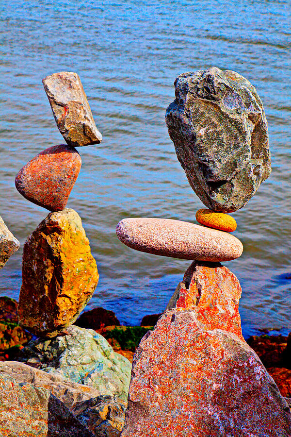 Rock Photograph - Two Stacks Of Balanced Rocks by Garry Gay