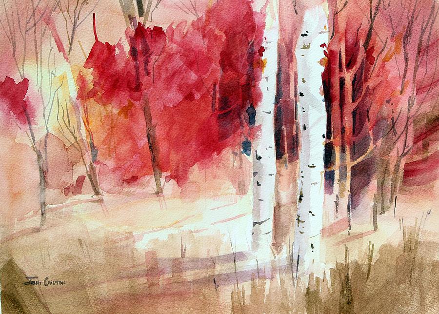 Autumn Landscape Painting - Two Sticks. by Josh Chilton