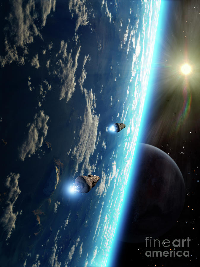 Artwork Digital Art - Two Survey Craft Orbit A Terrestrial by Brian Christensen