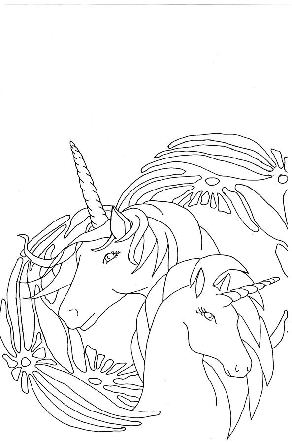 Two Unicorns Drawing By Yvette Pichette