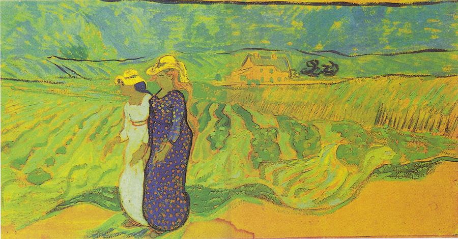 Painting Digital Art - Two Women Crossing The Fields by Vincent Van Gogh
