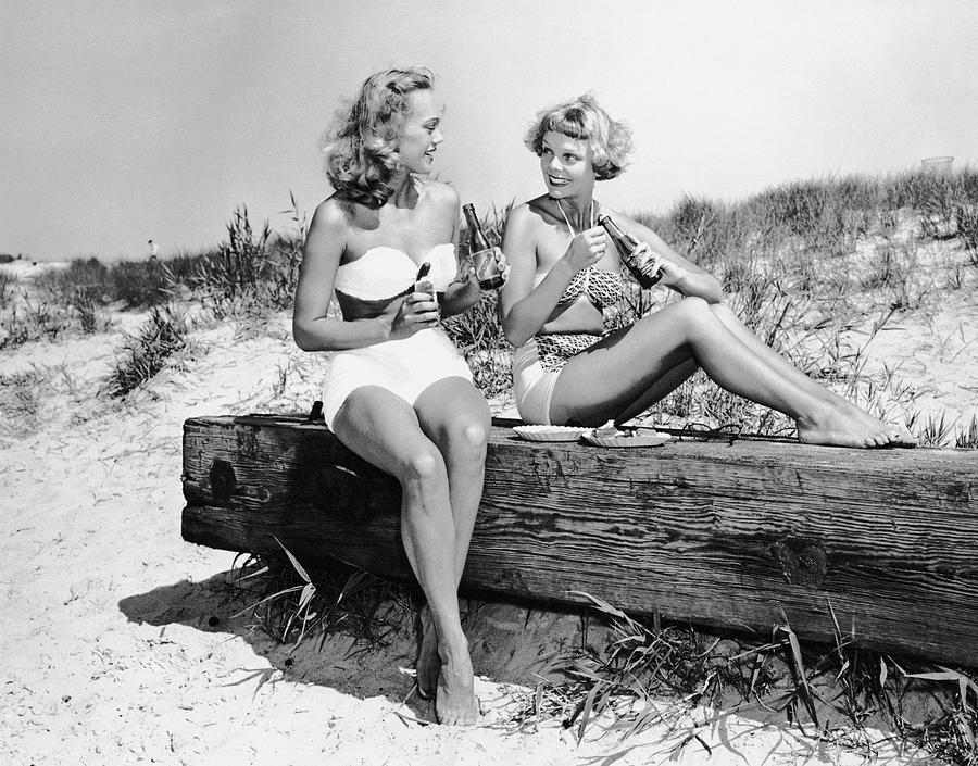 Adults Only Photograph - Two Women Drinking Soda On Beach by George Marks