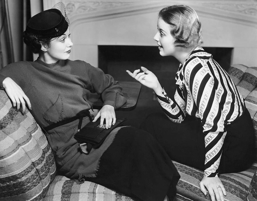 Adult Photograph - Two Women In Casual Conversation by George Marks