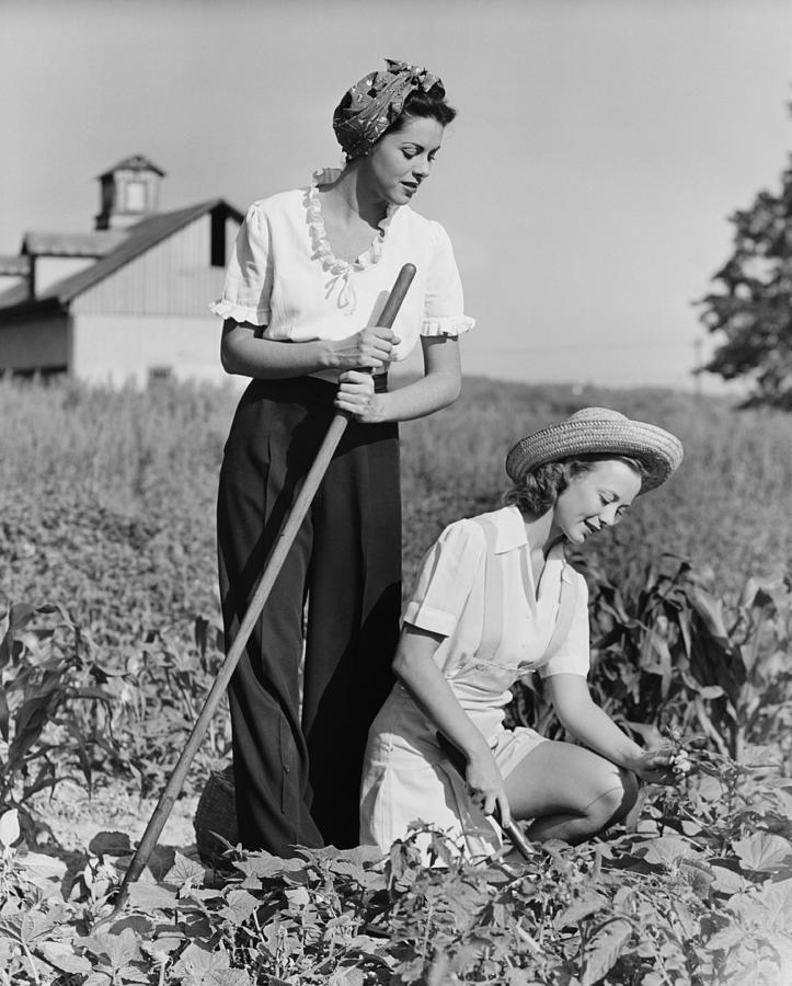 Adult Photograph - Two Women Working On Field, (b&w) by George Marks