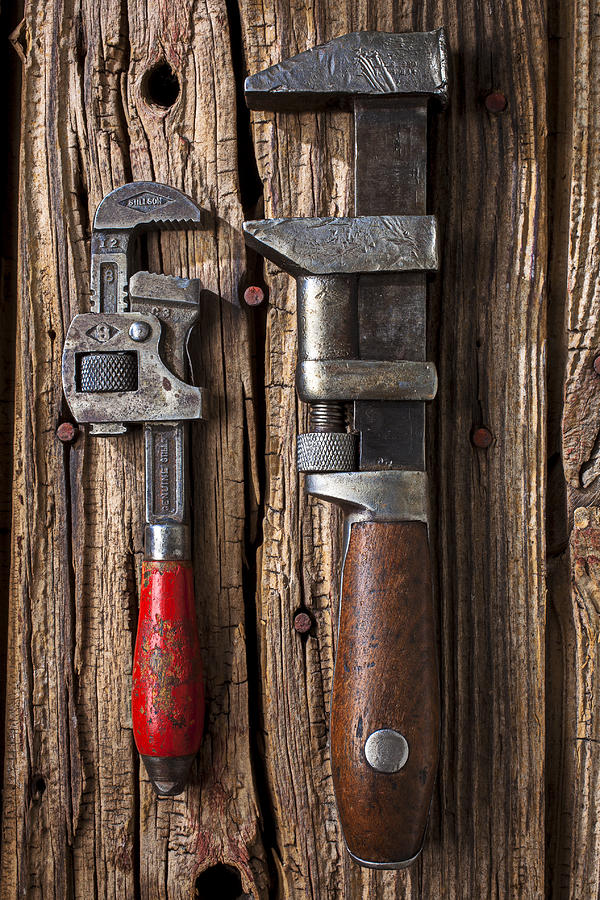 Wrench Photograph - Two Wrenches by Garry Gay