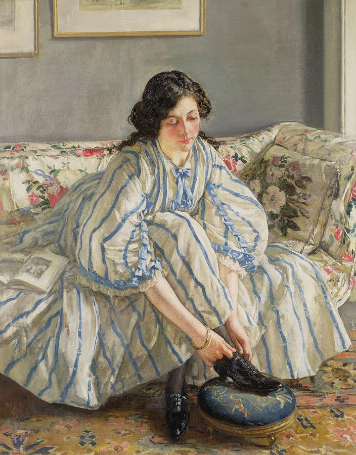 Long Hair Painting - Tying Her Shoe by Sir Walter Russell