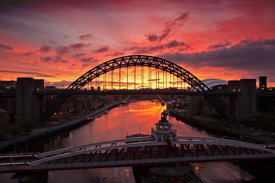 River Tyne Photograph - Tyne Bridges At Sunrise IIi by David Pringle