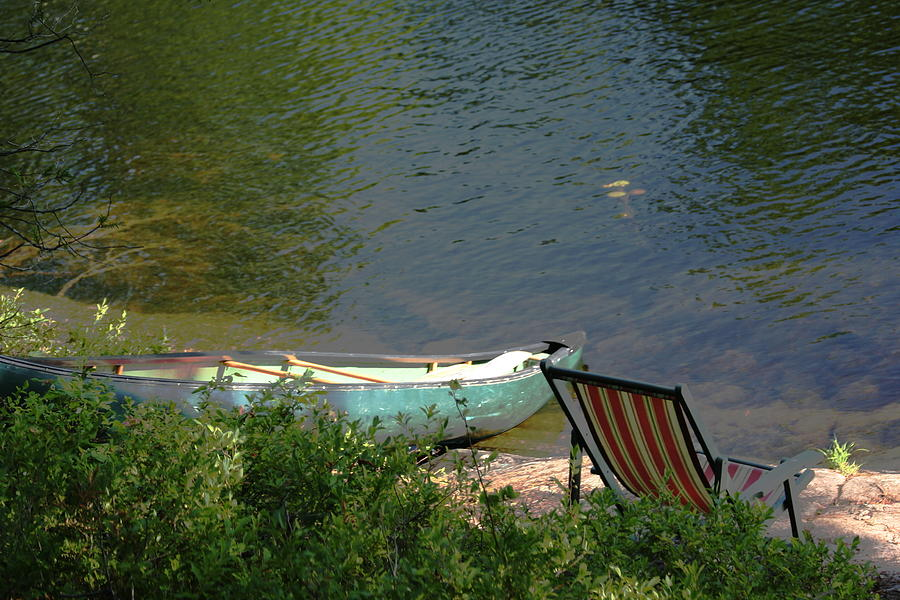 Water Photograph - Typical Canoe And Chair by Carolyn Reinhart