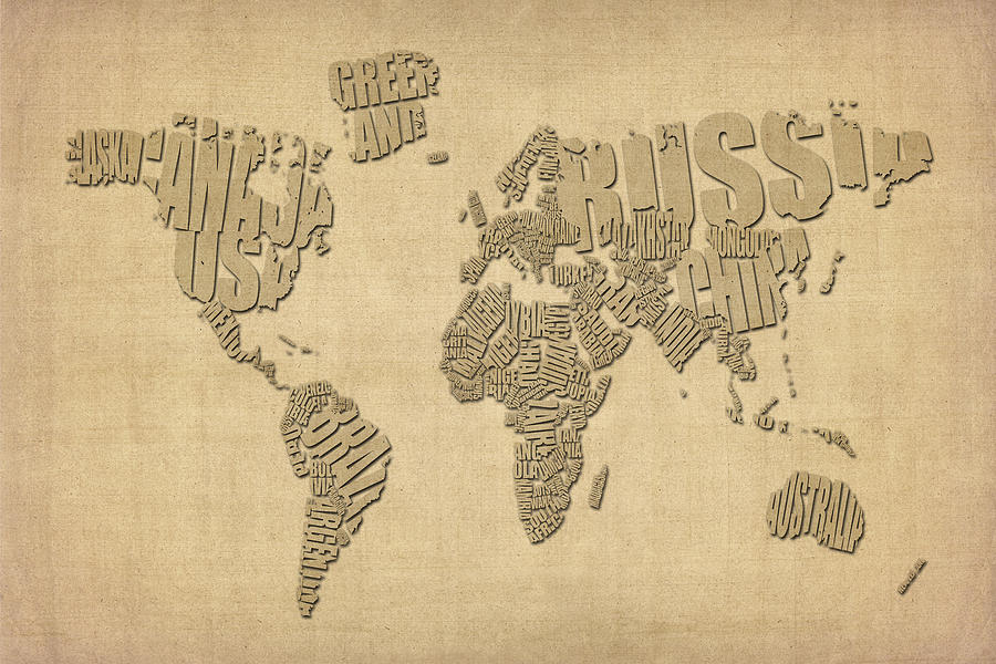 World Map Digital Art - Typographic Text Map Of The World by Michael Tompsett