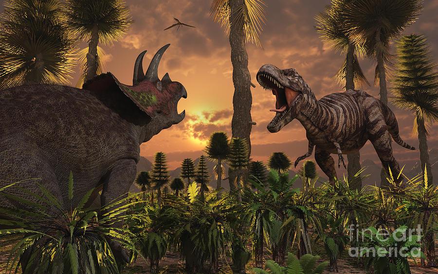 Roaming Digital Art - Tyrannosaurus Rex And Triceratops Meet by Mark Stevenson