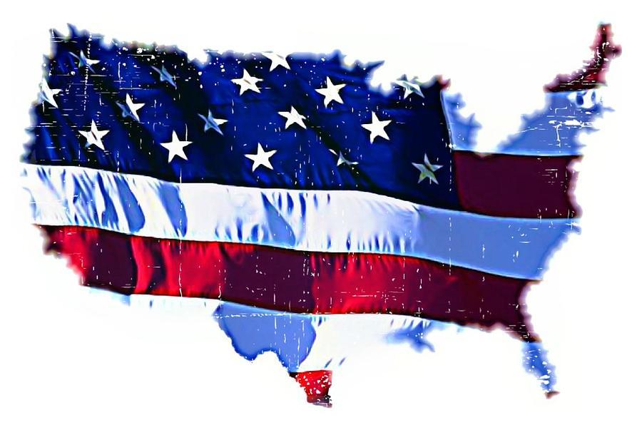 Flag Mixed Media - U. S. A. by ABA Studio Designs