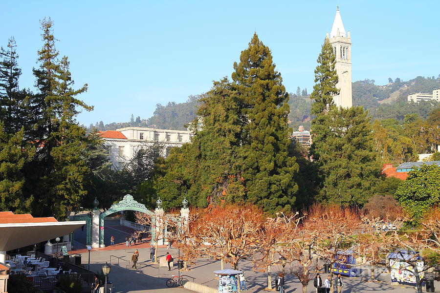 Sproul Plaza Photograph - Uc Berkeley . Sproul Plaza . Sather Gate And Sather Tower Campanile . 7d10015 by Wingsdomain Art and Photography