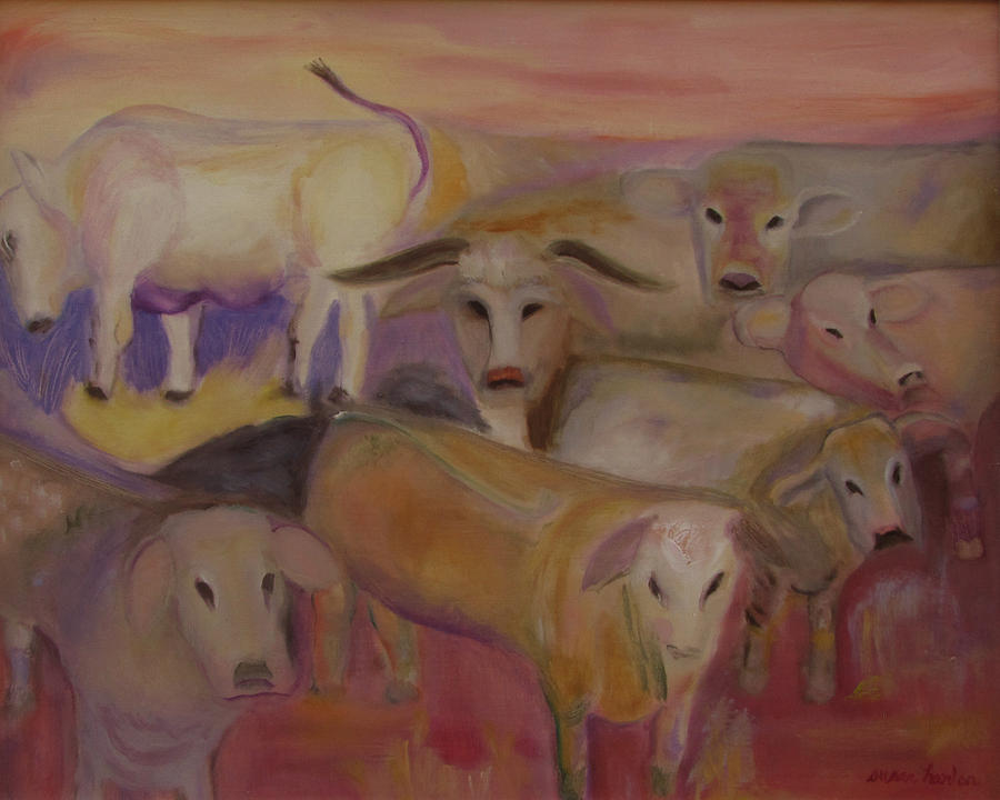 Cows Painting - Udderly Different by Susan Hanlon