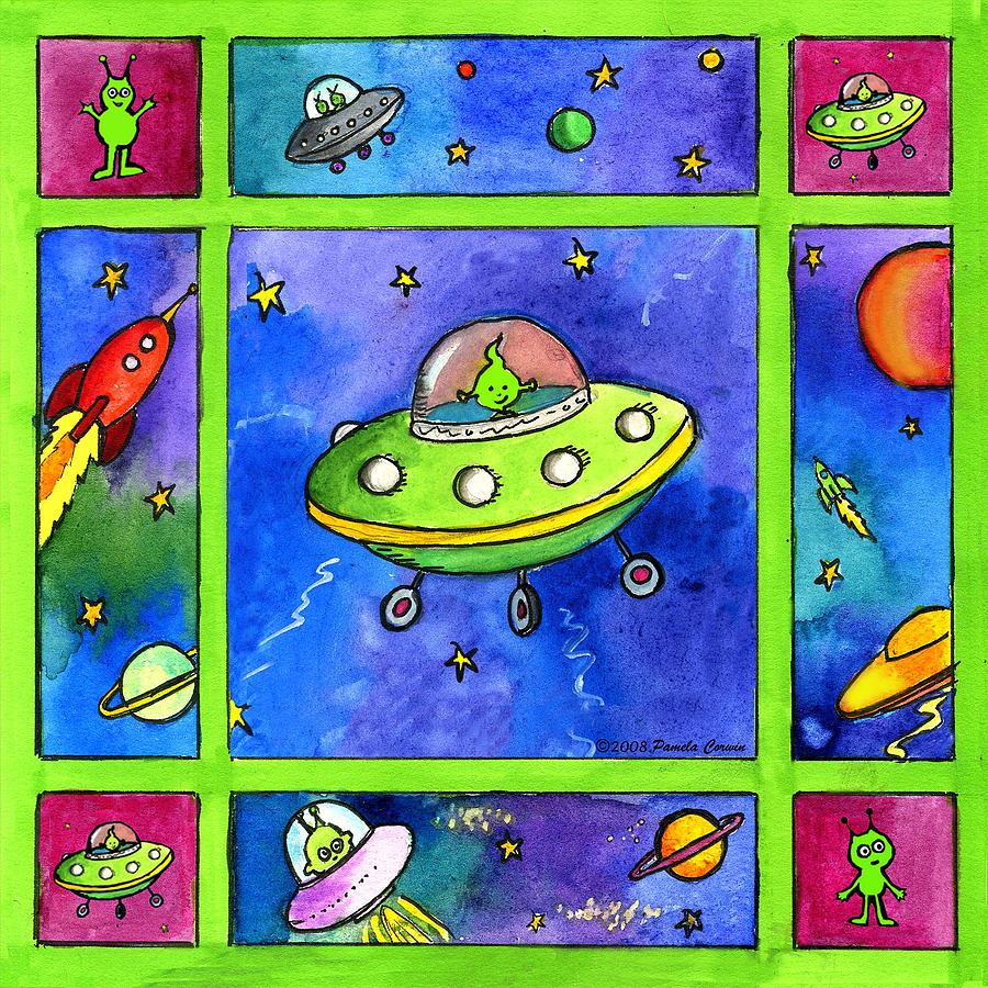 Whimsical Painting - UFO by Pamela  Corwin