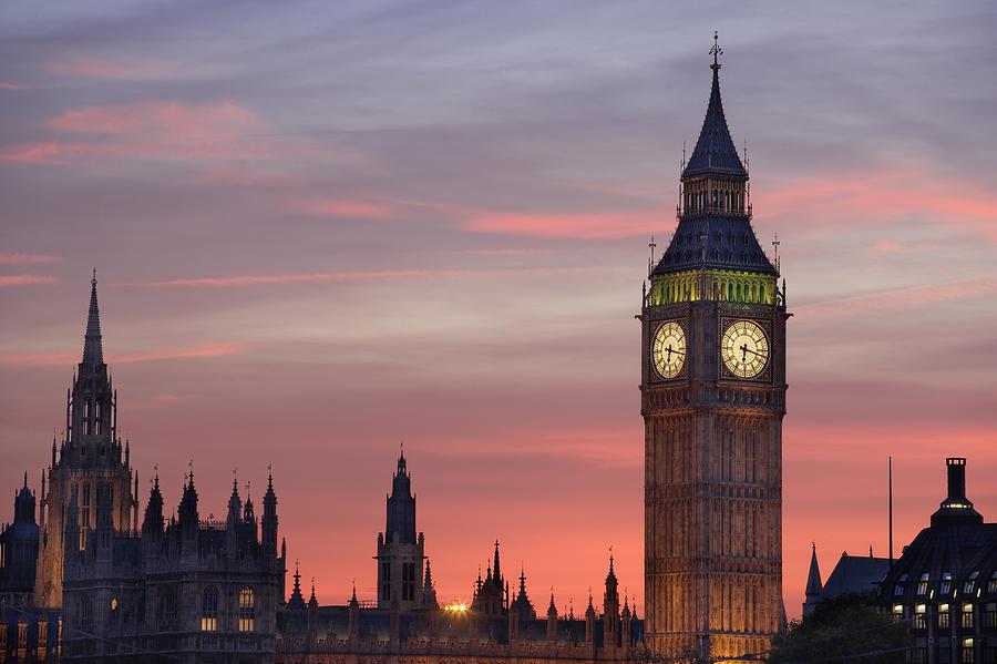 Uk London Big Ben Sunset Photograph By Travelpix Ltd