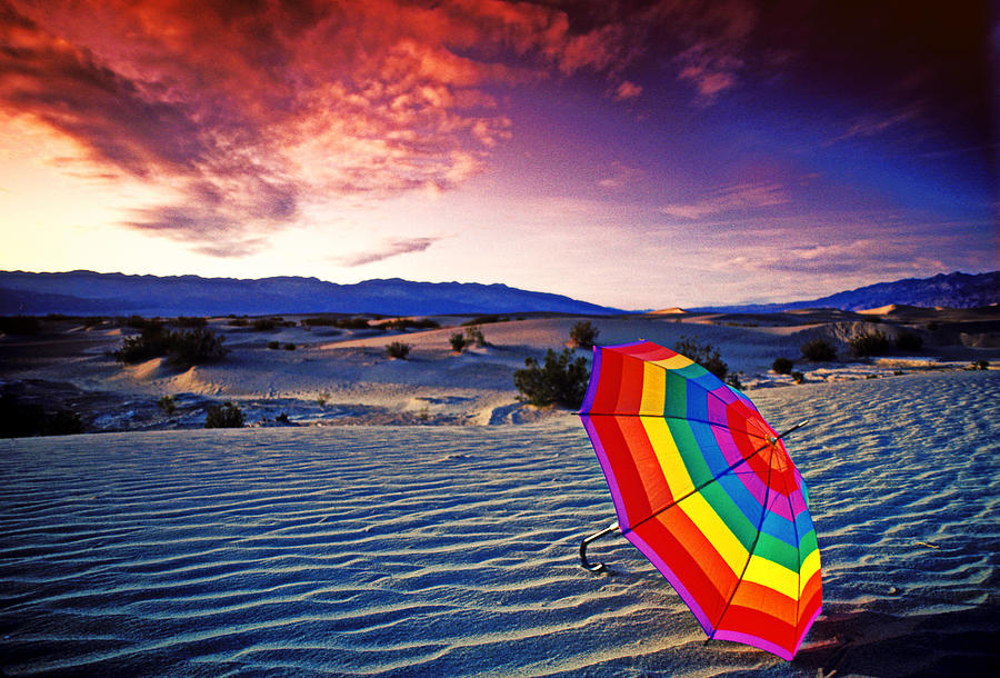 Umbrella Photograph - Umbrella On Desert Sands by Garry Gay
