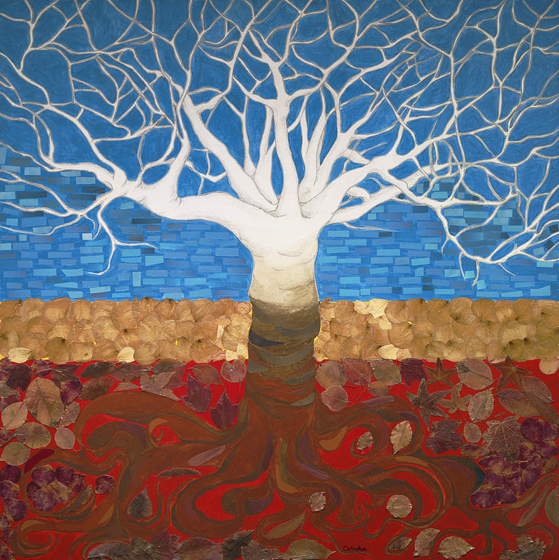 Tree Painting - Un Rooted Leaving All by Claudia French