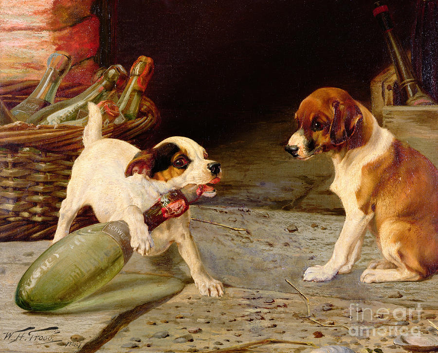 Jack Russell Terrier Painting - Uncorking The Bottle by William Henry Hamilton Trood
