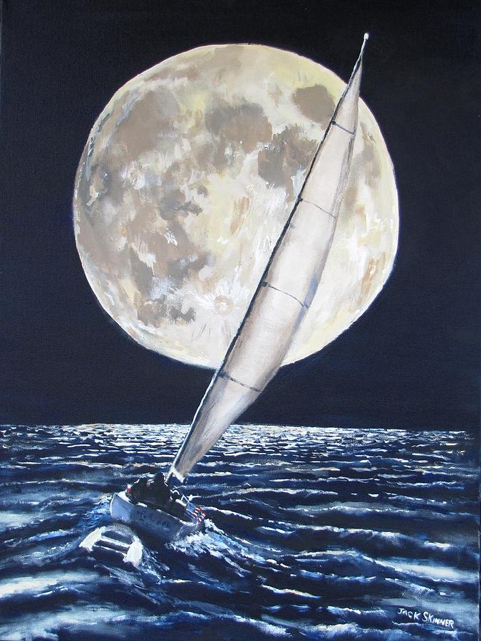 Sailing Painting - Under Full Sail..under Full Moon by Jack Skinner