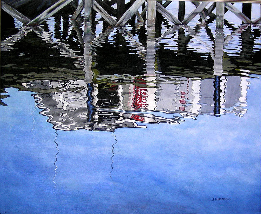Water Painting - Under The Dock by Judy Burgarella