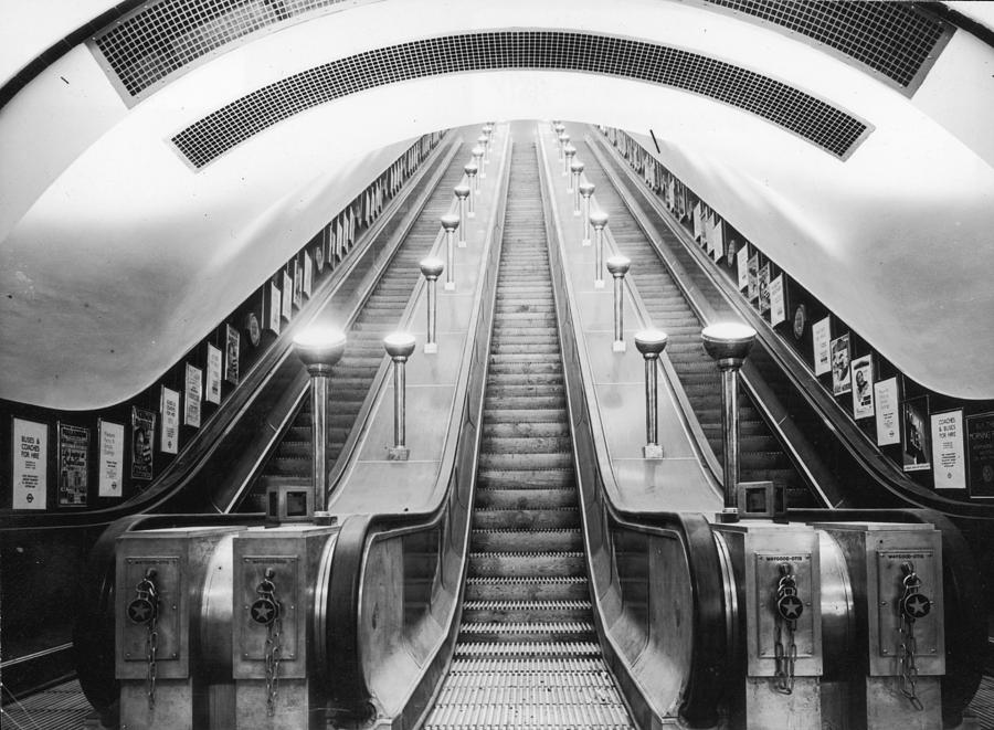 Horizontal Photograph - Underground Escalator by Archive Photos