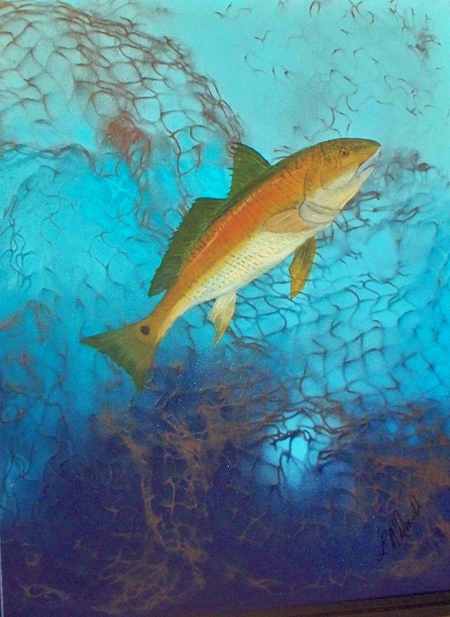 Underwater Redfish Painting by Lynda McDonald